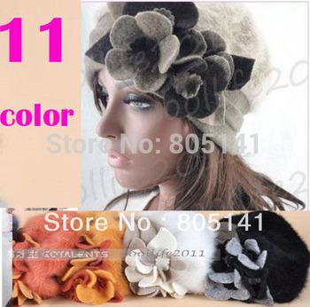 2014 Free Shiping New Women's Hat Beanie Cap Cute Flower Winter Warm Angora & Wool Rabbit soft hat