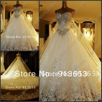 Wholesale - , 2014 the latest fashion beautiful sexy crystal beads church wedding dresses free delivery