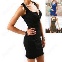2014 New Fashion Sexy Women Girls slim hip basic dress medium-long spaghetti strap tank dress buckle dress