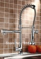 Factory directly sell!NEW pull out spring kitchen faucet .100% solid brass sink mixer tap dual spray (chrome)