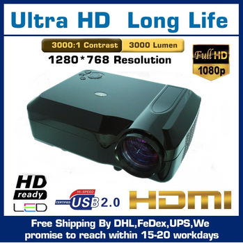 Free Shipping LED LCD Proyector 2200 Lumens With HDMI VGA Video For Home/Education/Business 3D big screen films LED projectors