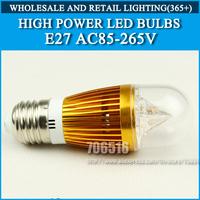LED candle bulb 4W E27 Cold white/warm white Gold / Round AC85-265V Free Shipping