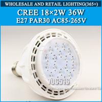 LED Par 30 CREE 36W 18*2W LED Spotlight Bulb Lamp AC85-265V Cold white/warm white Free shipping
