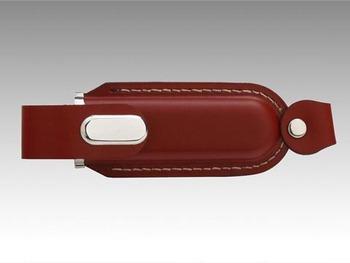 Leather Metal USB Stick Memory Flash Pen Drive Gift Brown 8GB 16GB 32GB 64GB Free Shipping
