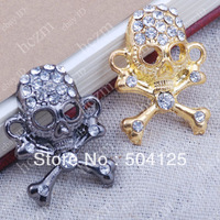 25pcs clear crystal pave gunmetal gold tone skull connector link fit macrame bracelet braided jewelry