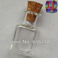 Free Shipping-2ml glass bottles 20pcs/lot Square Bottle,Bottle Container with Wood Cork,Clear Glass Vials with Cork,Small bottle