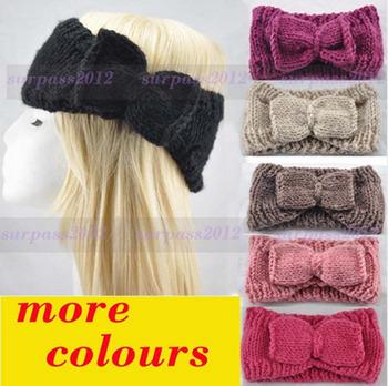 HOT Women Bow Crochet Headband knit loop Headwrap Winter Air Warmer Hairband