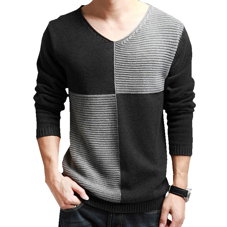 Free Knitting Patterns For Spring Sweaters : Mens Long Sleeve Knitted T Shirt Male Models Picture