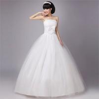 Free Shipping Fashion Pearl Flower Bride Wedding Dresses 2014 Sweet Princess Dress