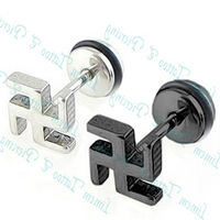Free Shipping 50pcs/lot Earring 316L fake Ear Expander stud earring for good fortune luck punk