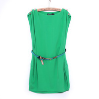 Neck Sleeveless Button-Shoulder Tunic Dress With Belt 2014 spring summer Free Shipping W3309