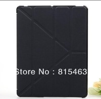 Transmutable Smart cover for ipad 3 / 2 Embossed Hard Shell Anti-skid Rubber Leather case for New iPad,iPad2 Skidproof material