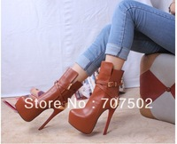 Free shipping !!16cm heel women new fashion royal brown high heel shoes metal strap platform winter boots for women