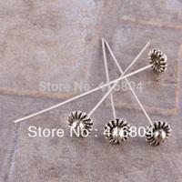 F0894*100PC Tibetan Silver Flower Head Pin Headpin Nail Needle Jewelry Findings