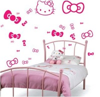 Free shipping Small size Hello kitty wall paper children's room wall sticker bedroom background wall decorate Multicolor choose