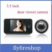 Freeshipping 3.5 inch TFT LCD screen Photo shooting door peephole eye viewer  300,000 pixels Built-memory peephole viewer camera