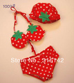 baby cartoon cute swimwear girl red two pieces strawberry swimwear girl&#39;s bikini+cap swimsuit set  5set/lot