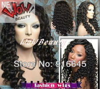 "WoW Beauty:100% Brazilian virgin remy human hair Full lace wig 8""-24"", #1jet black,deep wave DHL FREE SHIP"
