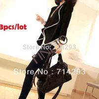 Free shipping 3PCS/LOT Women's Ladies Long Sleeve shoulder pad All-Match Loose Short Jacket Coat 7983 B002