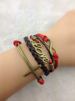 5pcs Infinity bracelet,love bracelet, cross bracelet,Wax Cords and Imitation Leather Bracelet,charm bracelet ZA127