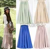 Women Ladies Girl High Waist Pleated Double Layer Short Chiffon Full long Maxi  puff Skirt dress Free shipping