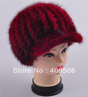 Men, women cheap genuine high quality mink hair fur thicken winter warm peak cap, double layers woolen yarn knitted visor hat