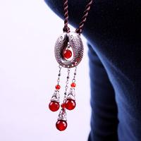 Tibetan Jewelry Miao Silver Fish Fashion Red Agate Long Design Necklace Sweater Chain 084