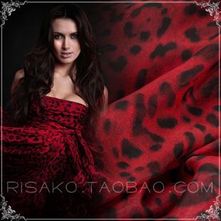 New Design 6mm 140cm red animal Printed Silk chiffon  Fabric(China (Mainland))