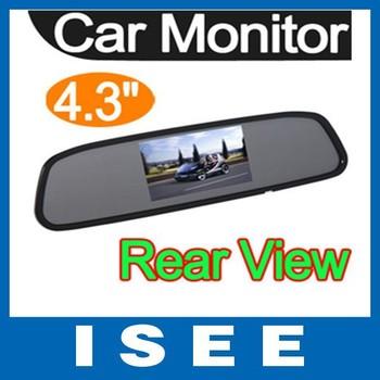 "Big sale  4.3"" TFT LCD DVD AV Car Rear View Mirror Monitor Auto Reversing Sensor  Free shipping China post"
