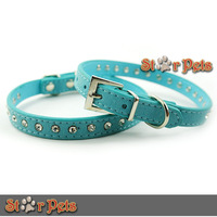 "New Blue 0.6"" wide Rhinestone Dimante Pet Collars for XS/S/M Dog Puppy Cat in Suede Leather"