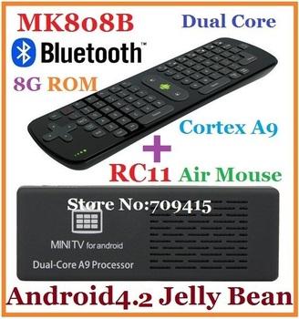 MK808B Built-in Bluetooth Android TV Box Mini pc RK3066 1.6GHz Cortex-A9 dual core 8G HDMI + RC11 Fly Air Mouse ,Free shipping