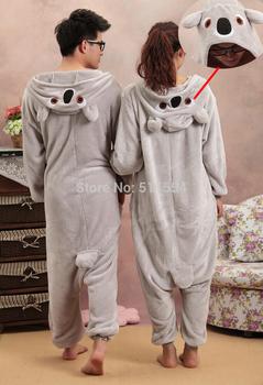 Free Shipping 2014 New Christmas Animal Fleece Blue and Grey Koala Pajamas Onesie For Adult Halloween Holiday Costume For Sale