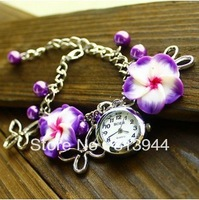 Fashion Women Ceramic Quartz Wrist Watch MINI Flowers Bracelet Watches 10pcs/lot code free shipping SS017