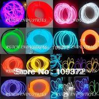 Free Shipping Wholesale 10PCS/Lot 100m 5mm Flexible Red/Yellow/Lemon/Pink/Green/Blue/Purple Neon Light Glow EL Wire Rope Tube
