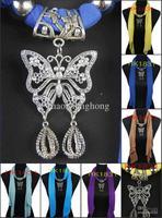 Wholesale-fashion scarf jewelry necklace silver butterfly pendants polyester 20 color mix 12PCS/lot HK1831