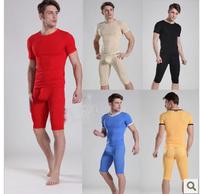 Ultra-thin male tight sleep set u three-dimensional bags transparent sexy pajama pants capris male