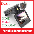 K5000 Car Black Box 140 Degrees Wide-angle Carcam Full HD 1080P Car DVR K5000 with 8 IR LED Night Vision/HDMI
