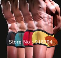 5pcs/lot!Underwear net male panties male gauze transparent panties u sexy trunk wj7051