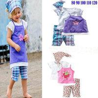 (5 sets/lot)2014 new baby girl summer clothing set(headband+short sleeve+halter top+pants) children clothing sets, baby suits