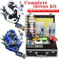 Professional tattoo Kit & 2 Guns 9 Colors 30ml Inks Power Tips needles Supply Tattoos set Equipment