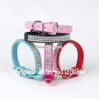 Bling Rhinestone Dog Collars Pet PU Leather Crystal Diamond Cat Puppy Collars Size S/M Black, Pink, Red, Blue,Rose Pink