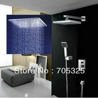 Luxury 10-inch Rainfall Square 3 Color LED Shower Head+ Valve Bathroom Wall Mount Double-function Shower Faucet Set JN-0006