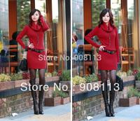 Free shipping! Fashion Autumn Long Sleeve High Collar Knitted Sweater Slim Mini Dress Women 4 Colors