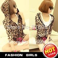 2013 Autumn NEW Cotton Women's Hoodies leopard Print Sweatshirt set ,  Full Sleeve Plus Size Coat Sports Suit