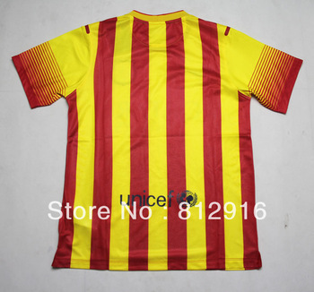 Top Thai version of the player version of the 2013-14La Liga season, Baelona away football jersey AA+ + Macy # 10 Iniesta # 8