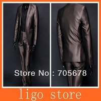 2013 new fashion brand men's business suit wedding dress slim suits /1 button coffe and black gift a tie