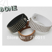 Free Shipping-Factory Wholesale Hot-selling Bone Punk Lovers Design Wide Leather Bracelet Rivet Bangles Fashion Accessories
