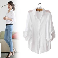 free shipping 2014  Korean Womens Fashion Cotton Loose Batwing Short Sleeve Shirt  Button Down Causal Blouse Tops white/Blue