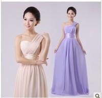 cheap aliexpress 11 one shoulder bride married toast formal dress bridesmaid dress  oblique long design