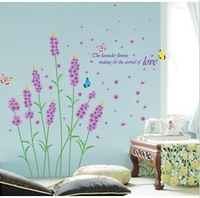 Free shipping Romantic lavender the third generation wall stickers tv background wall romantic bedside